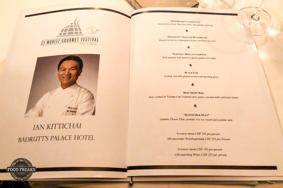 Thai Menu von Ian Kittichai im Badrutts Palace St. Moritz